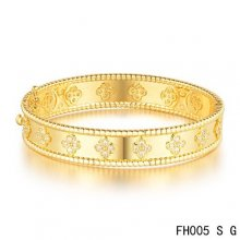 Fake Van Cleef & Arpels Perlee Clover Bracelet In Yellow Gold With Diamond-Small Model