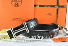 Hermes Reversible Belt Black/Black Crocodile Stripe Leather With18K Silver Idem Buckle