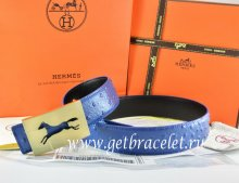 Hermes Reversible Belt Blue/Black Ostrich Stripe Leather With 18K Gold Hollow Horse Buckle
