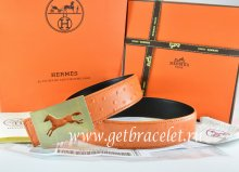 Hermes Reversible Belt Orange/Black Ostrich Stripe Leather With 18K Gold Hollow Horse Buckle
