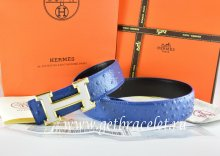 Hermes Reversible Belt Blue/Black Ostrich Stripe Leather With 18K White Gold H Buckle
