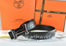 Hermes Reversible Belt Black/Black Ostrich Stripe Leather With 18K Black Silver Narrow H Buckle