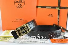 Hermes Reversible Belt Black/Black Ostrich Stripe Leather With 18K Gold Lace Strip H Buckle