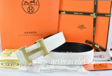 Hermes Reversible Belt White/Black Togo Calfskin With 18k Gold H Buckle