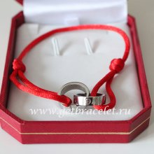 Cartier Double Ring Love Bracelet White Gold Red Rope
