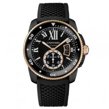 Calibre de Cartier Diver replica watch W2CA0004 ADLC steel and pink gold black rubber strap