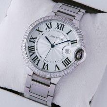 Ballon Bleu de Cartier large diamond watch replica silver dial stainless steel