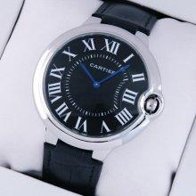 Ballon Bleu de Cartier extra large watch black dial steel black leather strap