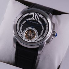 Calibre de Cartier Flying Tourbillon mens watch replica steel black dial leather strap