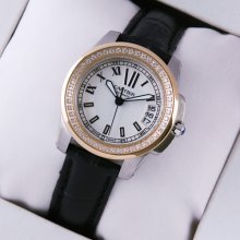 Calibre de Cartier diamond womens watch silver dial two-tone pink gold and steel black leather strap