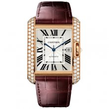 Cartier Tank Anglaise extra large diamond watch WT100021 18K pink gold brown leather strap