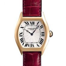 Cartier Tortue small diamond ladies watch 18k yellow gold brown leather strap