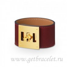 Hermes Kelly Dog Bracelet Coffee With Gold