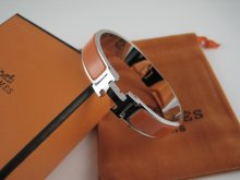 Hermes Orange Enamel Clic H Bracelet Narrow Width (12mm) In Silver