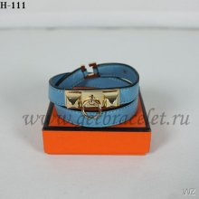 Hermes Rivale Double Wrap Bracelet Blue Gold
