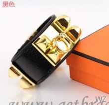 Hermes Collier de Chien Bracelet Black Gold