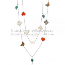 Van Cleef & Arpels Lucky Alhambra Long Necklace White Gold 12 Motifs Stone Combination