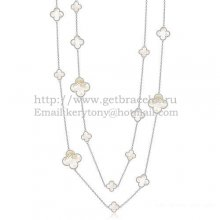 Van Cleef & Arpels Magic Alhambra Necklace White Gold 16 Motifs With White Mother Of Pearl