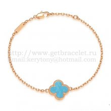 Van Cleef & Arpels Sweet Alhambra Bracelet Pink Gold With Turquoise Mother Of Pearl
