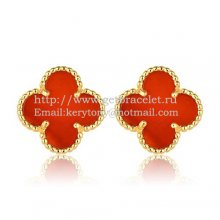 Van Cleef & Arpels Sweet Alhambra Earrings 15mm Yellow Gold With Carnelian Mother Of Pearl