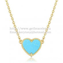 Van Cleef Arpels Sweet Alhambra Heart Pendant Yellow Gold With Turquoise Mother Of Pearl