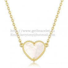 Van Cleef Arpels Sweet Alhambra Heart Pendant Yellow Gold With White Mother Of Pearl