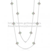 Van Cleef & Arpels Vintage Alhambra Necklace White Gold 10 Motifs With Gray Mother Of Pearl