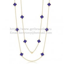 Van Cleef & Arpels Vintage Alhambra Necklace Yellow Gold 10 Motifs With Lapis Stone Mother Of Pearl