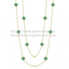 Van Cleef & Arpels Vintage Alhambra Necklace Yellow Gold 10 Motifs With Malachite Mother Of Pearl