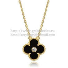 Van Cleef & Arpels Vintage Alhambra Pendant Yellow Gold With Black Agate Mother Of Pearl Round Diamonds
