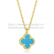Van Cleef & Arpels Sweet Alhambra Pendant Yellow Gold With Turquoise Mother Of Pearl 9mm