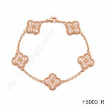 Fake Van Cleef & Arpels Vintage Alhambra Bracelet In Pink Gold With Round Diamonds