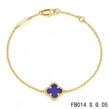Fake Van Cleef & Arpels Sweet Alhambra Bracelet In Yellow Gold With Lapis Lazuli