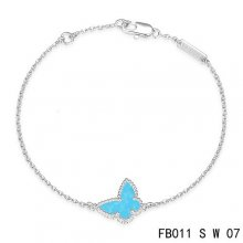 Imitation Van Cleef & Arpels Sweet Alhambra Bracelet In White With Blue Butterfly