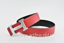 Hermes Reversible Belt Red/Black Classics H Togo Calfskin With 18k Silver With Logo Buckle