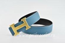 Hermes Reversible Belt Blue/Black Classics H Togo Calfskin With 18k Gold With Logo Buckle