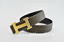 Hermes Reversible Belt Brown/Black Classics H Togo Calfskin With 18k Gold With Logo Buckle