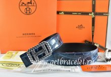 Hermes Reversible Belt Blue/Black Crocodile Stripe Leather With18K Silver Lace Strip H Buckle