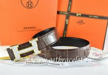 Hermes Reversible Belt Brown/Black Crocodile Stripe Leather With18K White Gold H Buckle