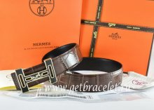 Hermes Reversible Belt Brown/Black Crocodile Stripe Leather With18K Black Gold With Logo H Buckle