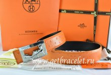 Hermes Reversible Belt Orange/Black Ostrich Stripe Leather With 18K Silver Coach Buckle