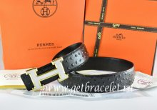 Hermes Reversible Belt Black/Black Ostrich Stripe Leather With 18K White Gold H Buckle