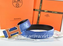 Hermes Reversible Belt Blue/Black Ostrich Stripe Leather With 18K Brown Gold Width H Buckle