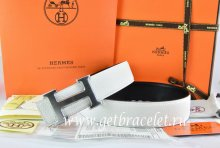 Hermes Reversible Belt White/Black Togo Calfskin With 18k Drawbench Silver H Buckle