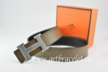 Hermes Reversible Belt Light Gray/Black Togo Calfskin With 18k Gold Wave Stripe H Buckle