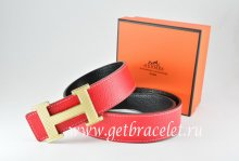 Hermes Reversible Belt Red/Black Togo Calfskin With 18k Silver Wave Stripe H Buckle