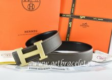 Hermes Reversible Belt Brown/Black Togo Calfskin With 18k Silver Wave Stripe H Buckle