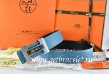Hermes Reversible Belt Blue/Black Togo Calfskin With 18k Silver Logo H Buckle