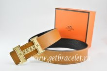 Hermes Reversible Belt Light Coffe/Black Togo Calfskin With 18k Gold Weave Stripe H Buckle