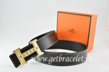 Hermes Reversible Belt Black/Black Togo Calfskin With 18k Orange Gold Weave Stripe H Buckle